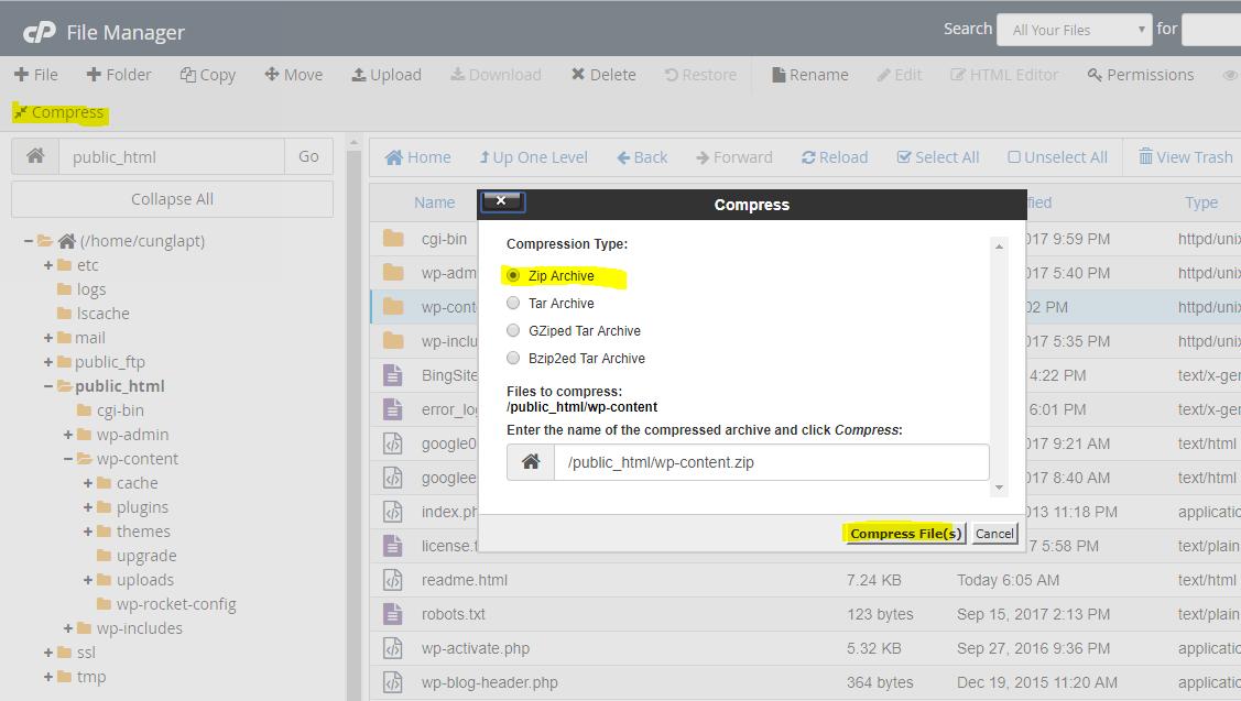 sao lưu dữ liệu wordpress