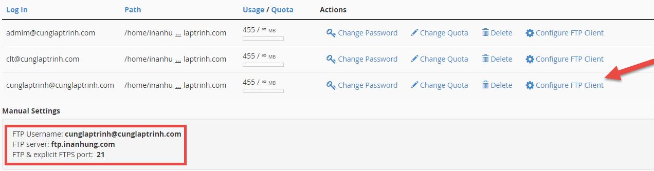 thông tin tài khoản ftp