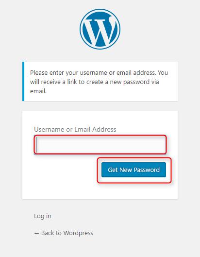 lấy lại mật khẩu wordpress