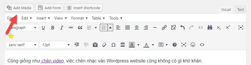 chèn nhạc vào wordpress